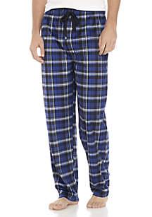 Silky Fleece Black, White, and Blue Plaid Sleep Pant