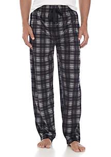 Big & Tall Silky Fleece Black Grey White Plaid Sleep Pants