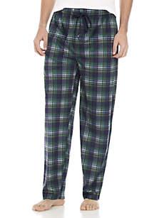 Big & Tall Silky Fleece Navy and Hunter Plaid Sleep Pants