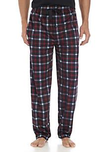 Big & Tall Silky Fleece Red, Black, and Blue Plaid Sleep Pants