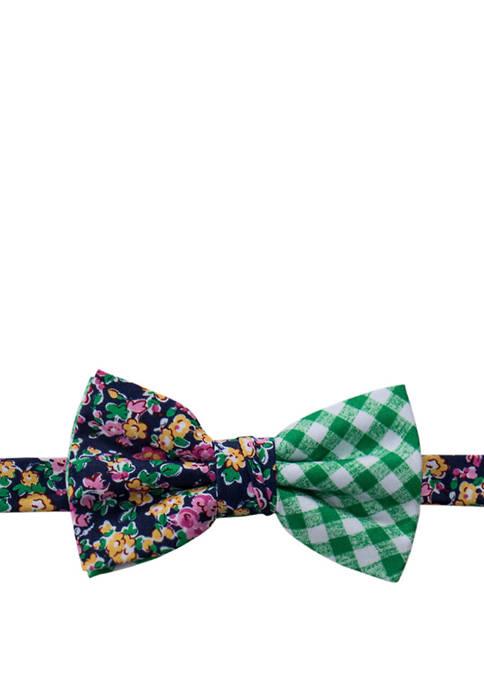 Floral Check Half and Half Bow Tie