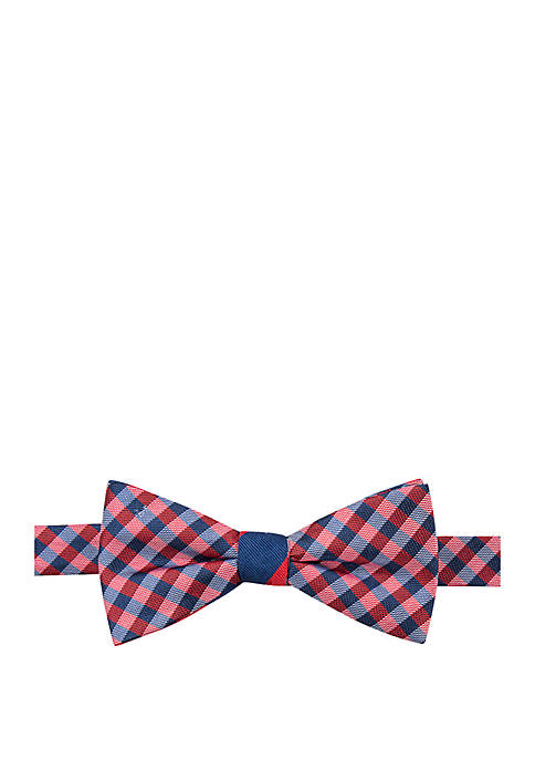 Saddlebred® Gingham Stripe Reversible Bow Tie