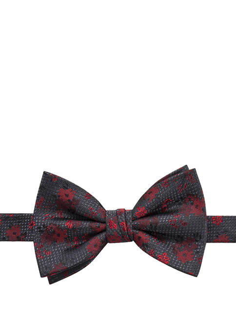Saddlebred® Charcoal Floral Pattern Bow Tie