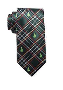 Christmas Tree Plaid Print Neck Tie