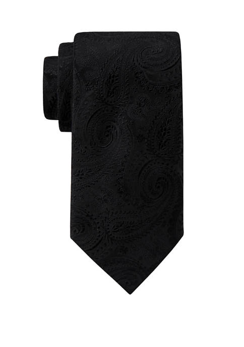 Mens Solid Paisley Extra Long Necktie