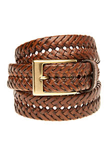 Braided Tan Leather Casual Belt