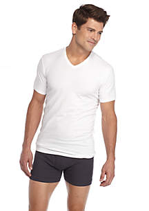 Cotton Stretch V-Neck Tee - 2 Pack