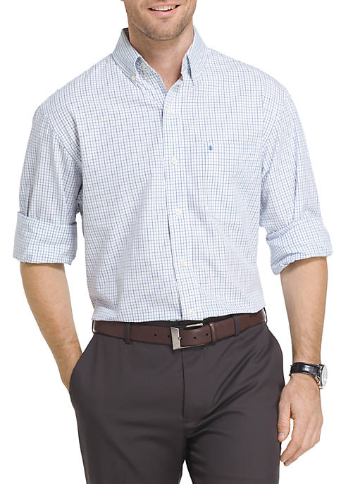 IZOD Big & Tall Long Sleeve Essential Tattersall