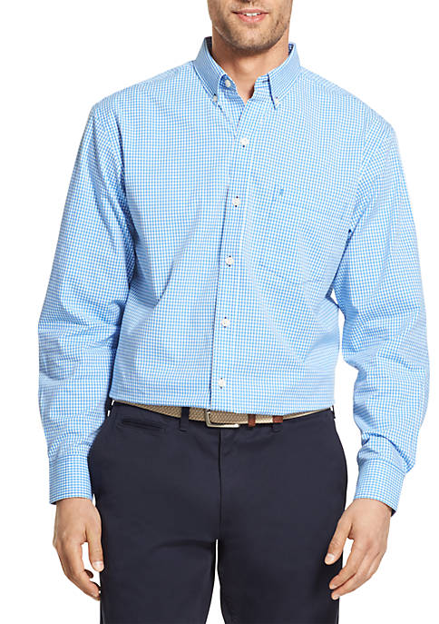 IZOD Long Sleeve Stretch Gingham Shirt