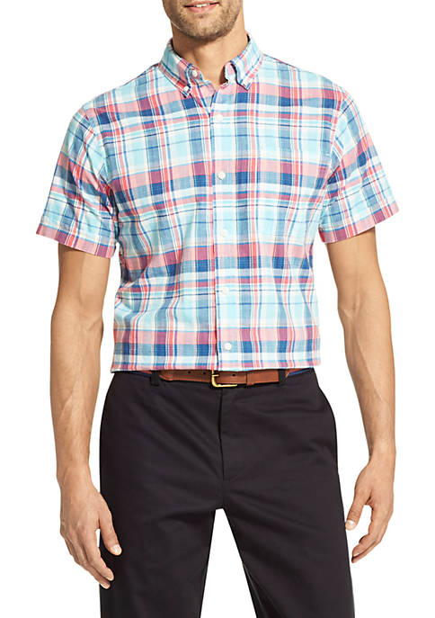 IZOD Slim Fit Short Sleeve Plaid Chambray Shirt