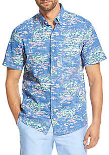 7a4fb098a ... IZOD Saltwater Slim Dockside Chambray Printed Button Down Shirt