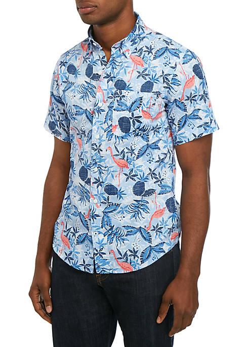 Saltwater Slim Dockside Chambray Printed Short Sleeve Button Down Shirt