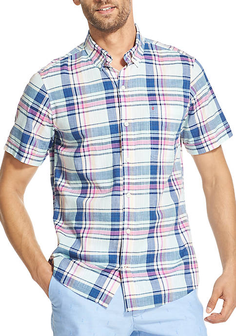 Saltwater Slim Dockside Chambray Plaid Short Sleeve Button Down Shirt