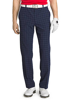 IZOD Performance Golf Straight-Fit Flat-Front Plaid Stretch Pants