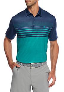 IZOD Short Sleeve Striker Print Stripe Polo