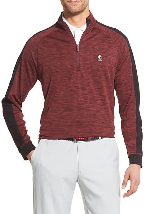 IZOD Mens Golf Color Block Fleece Quarter Zip