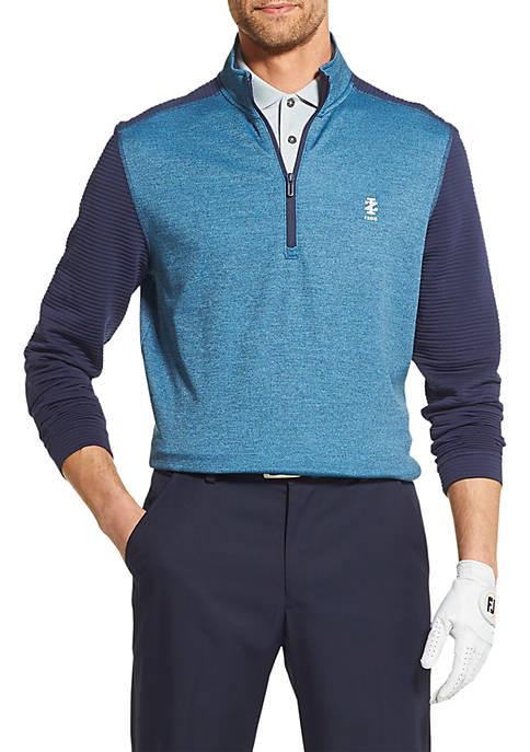 IZOD Golf Ribbed Fleece Quarter Zip Pullover