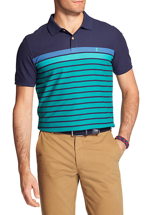 IZOD Short Sleeve Fall Trans Engineered Stripe Polo