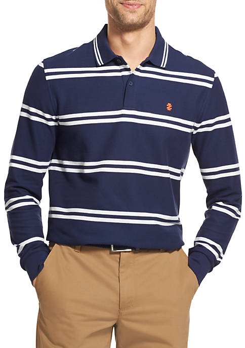 IZOD Advantage Performance Long Sleeve Striped Polo Shirt