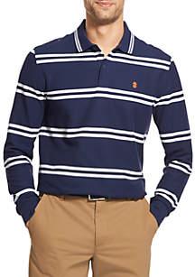 Advantage Performance Long Sleeve Striped Polo Shirt