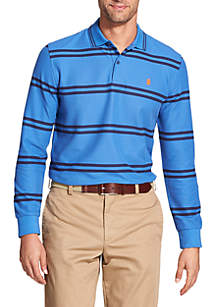 Advantage Performance Long Sleeve Striped Polo Shirt