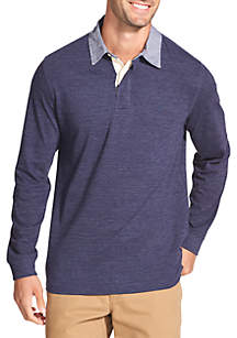 Saltwater Blues Long Sleeve Rugby Polo Shirt