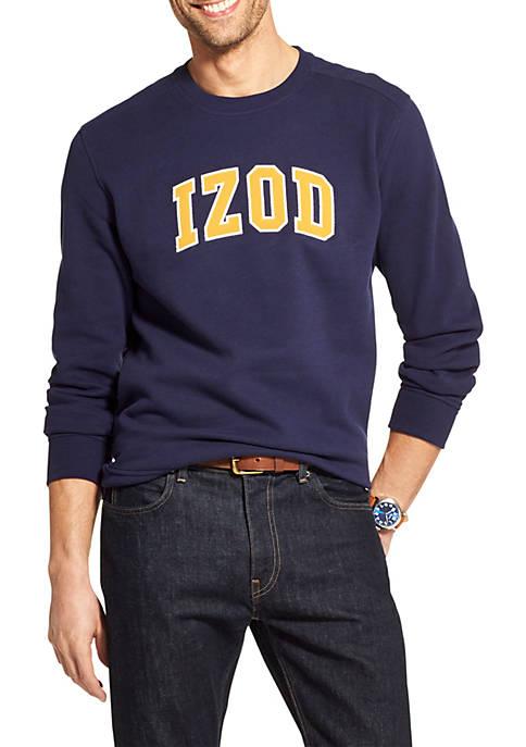 IZOD Super Soft Fleece Varsity Crewneck Logo Pullover