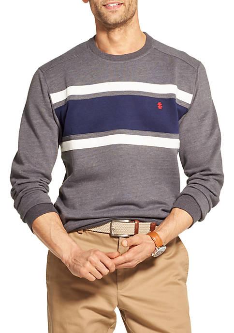 IZOD Fleece Colorblock Crewneck Pullover