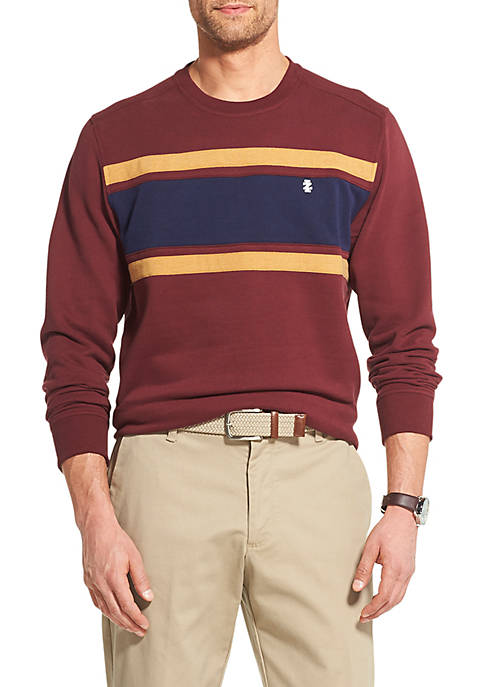IZOD Fleece Colorblock Crewneck Pullover