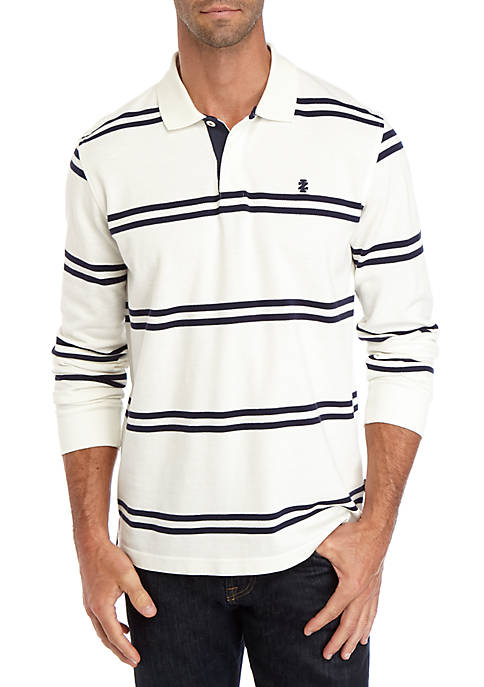 IZOD Saltwater Striped Long Sleeve Polo Shirt