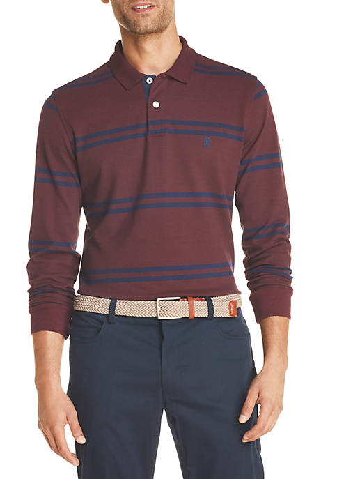 Saltwater Striped Long Sleeve Polo Shirt