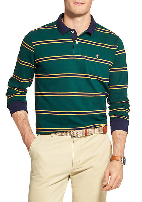 IZOD Saltwater Striped Long Sleeve Collegiate Pique Polo