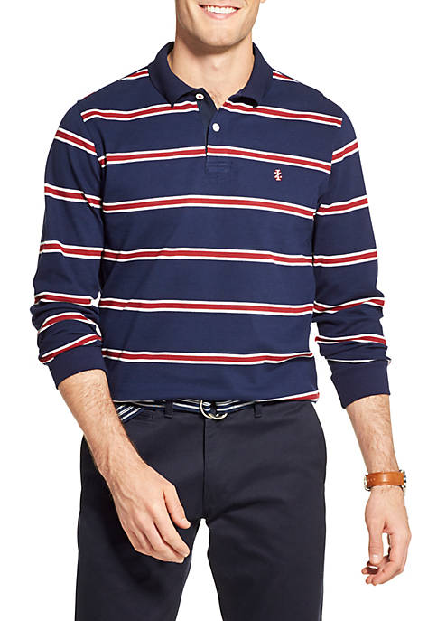 Saltwater Striped Long Sleeve Collegiate Pique Polo Shirt