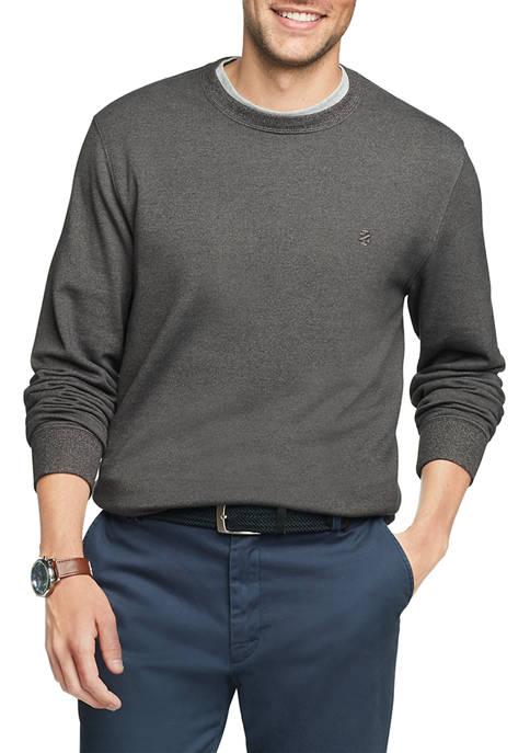 IZOD Mens Solid Crew Neck Fleece Sweater