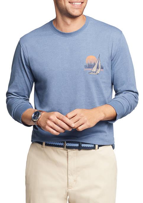 IZOD Mens Saltwater Long Sleeve Graphic T-Shirt