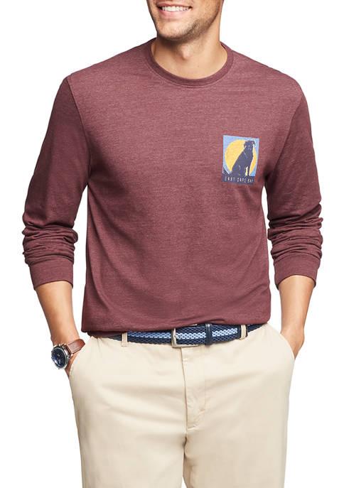 IZOD Saltwater Long Sleeve Dog Graphic T-Shirt
