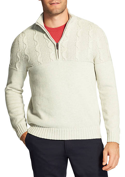 IZOD Cable Knit Quarter Zip Sweater