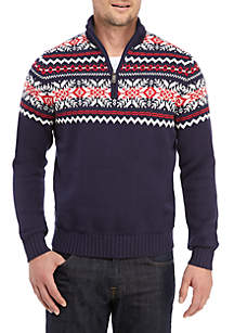 1/4 Zip Mock Neck Stripe Sweater