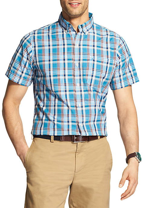 IZOD Short Sleeve Plaid Breeze Button Down Shirt