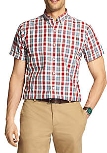 Short Sleeve Fall Trans Plaid Breeze Shirt