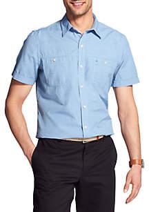 IZOD Short Sleeve Solid Breeze Button Down Shirt