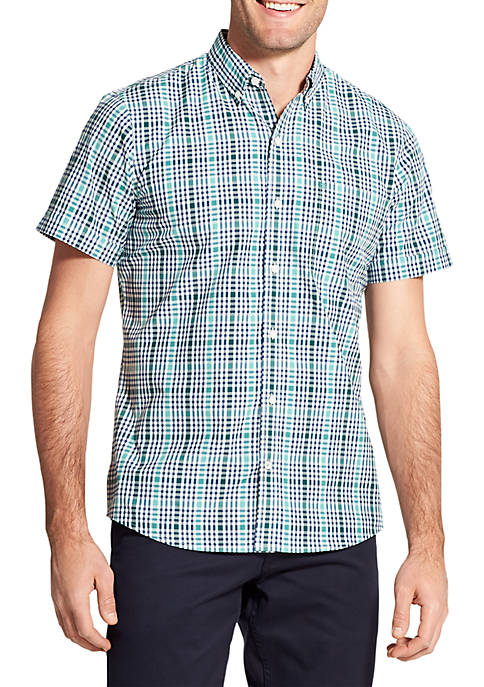 IZOD Short Sleeve Fall Trans Plaid Breeze Shirt