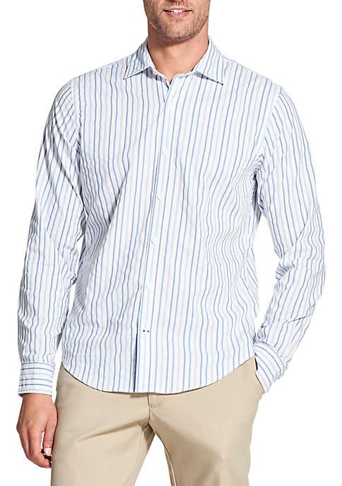 Slim Saltwater Blues Striped Long Sleeve Button Down Shirt