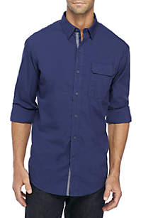 Tonal Stripe Woven Button Down Shirt