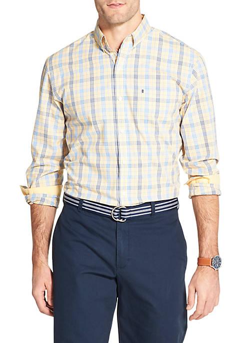 Premium Essentials Glen Plaid Stretch Plaid Woven Button Down Shirt