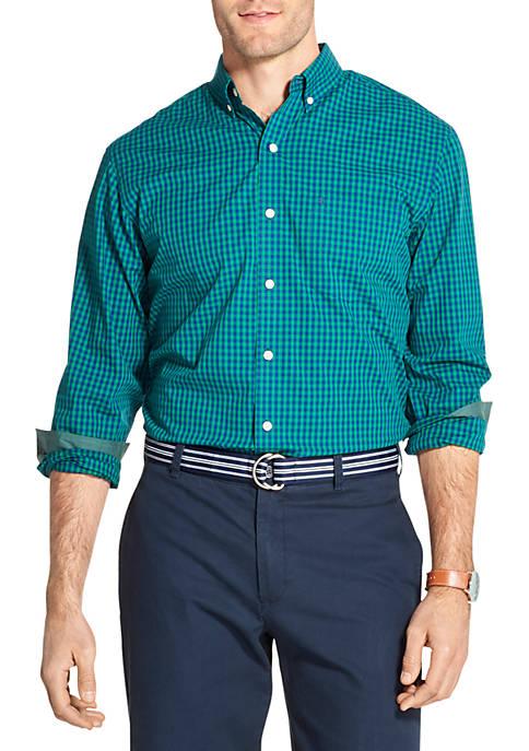 IZOD Premium Essentials Stretch Gingham Button Down Shirt
