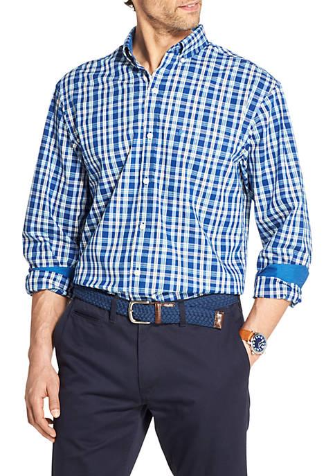IZOD Premium Essentials Stretch Plaid Button Down Shirt