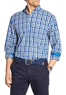 IZOD Premium Essentials Stretch Plaid Button Down Shirt