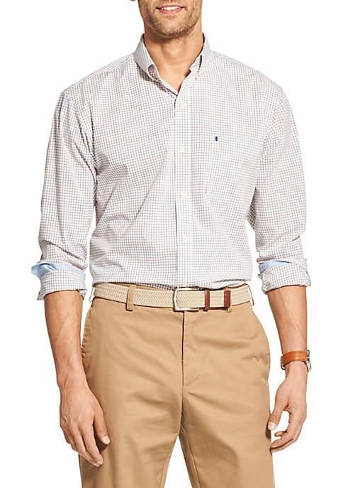 Premium Essentials Stretch Tattersall Woven Button Down Shirt
