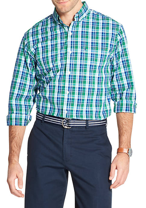 IZOD Premium Essentials Stretch Plaid Woven Button Down